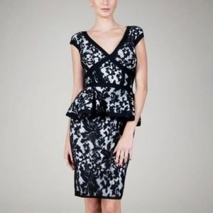 Tadashi Shoji Black & Ivory Lace Peplum Dress 8